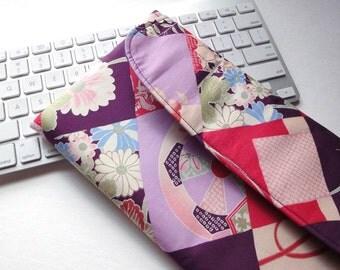 Apple Wireless Keyboard Sleeve Case Cover Padded Flap Closure Kimono pattern fabric flowers purple