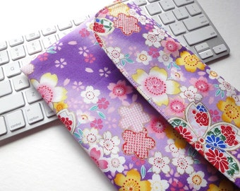 Apple Wireless Keyboard Sleeve Case Cover Padded Flap Closure Kimono pattern fabric cherry blossoms purple