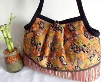 Kimono Purse Japanese Cotton Bag Granny bag purse flowers cherry blossoms chrysanthemum ocher