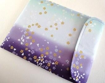 Kindle Voyage Sleeve - Kindle Oasis Case - iPad Cover - Padded Tablet case Flap Closure Cherry blossom Gradation purple