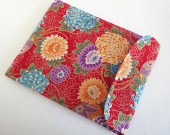LAST ONE  Galaxy Tab Sleeve - Kindle Case Flap Closure - Kimono pattern fabric chrysanthemum red