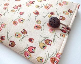 Custom made Amazon Kindle,Sony Reader,Nook,Kobo,Padded Tablet Cover Sleeve Case Kimono cotton fabric happy owls light orange