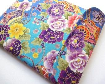 Kobo glo cover, Kindle paperwhite case, kobo mini sleeve Japanese gadget case Kimono cotton fabric Sensu float teal blue