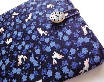 Bunny iPad Case  iPad Sleeve iPad Cover Padded Tablet case Rabbits cherry blossoms navy