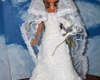 Barbie in Crocheted Beaded Wedding Gown