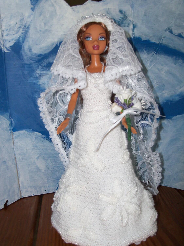 Barbie in Crocheted Beaded Wedding Gown
