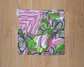 SALE Pink and Green Receiving Blanket