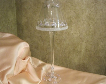 Glass Table Lamp with Natural Soy Votive Decorative Floral
