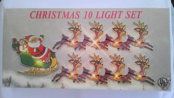 Vintage Santa and 8 Reindeer 10 light strand/set Display 3 ways Indoor New in Original Box