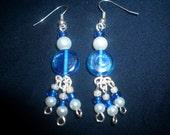Little blue and white dangling beaded earrings