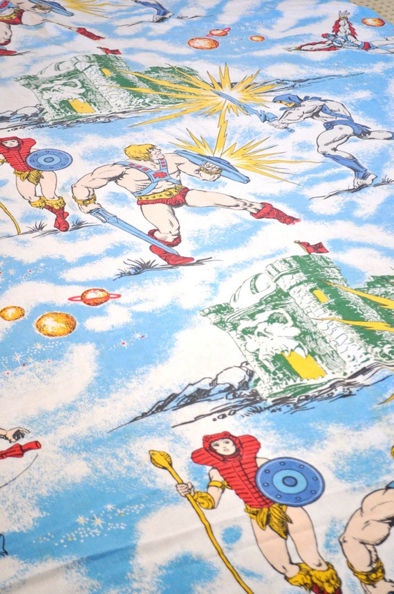 Vintage 1983 He Man Masters Of the Universe Twin Flat Sheet Tablecloth Party