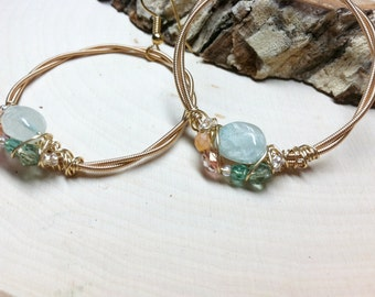 AQUAMARINE GUITAR STRING Hoop Earrings with Czech Glass Beading.  Musically Inspired Adornments