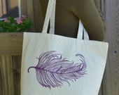 Feather Print Tote Bag - Purple