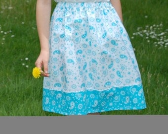 blue and white paisley girls skirt age 5 to 6  years