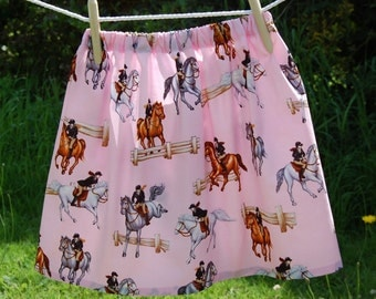 pink skirt with horses, girls age 6 - 7 years ,show jumping