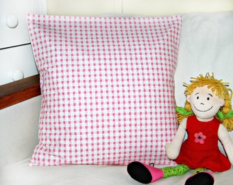 pink and white check cushion cover , girls pillow cover 16 inch