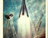 Cosmos - rocket - Vintage Russian USSR postcards - Soviet cards