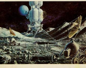 In the Moon, Art Space, Artist Sokolov, Vintage Russian Postcards 1980 unused