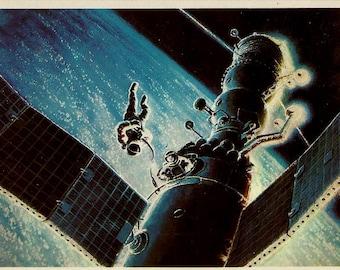 Astronaut, Space, Rocket, Satellit, Postcard by Sokolov, Vintage Russian Art print 1980 unused