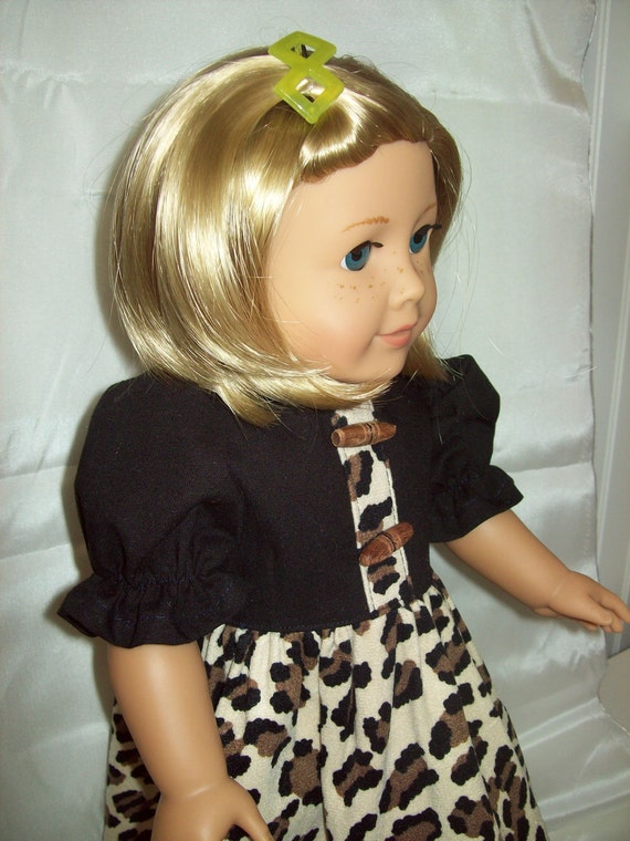 American Girl Doll Clothes  18 inch doll dress. Animal print dress with black trim.