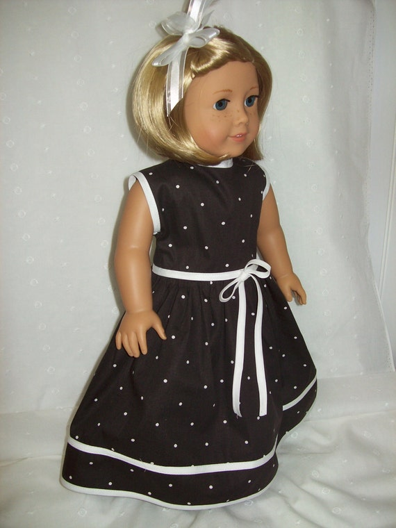 American Girl Doll Clothes 18 inch doll dress. Black and white polka dot dress with white contrast.