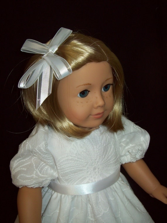 American Girl doll clothes  18 inch doll dress  Pretty white embroidery fabric