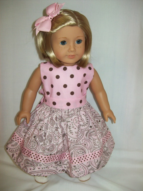 American Girl doll clothes 18 inch doll dress in pink paisley and dot fabric