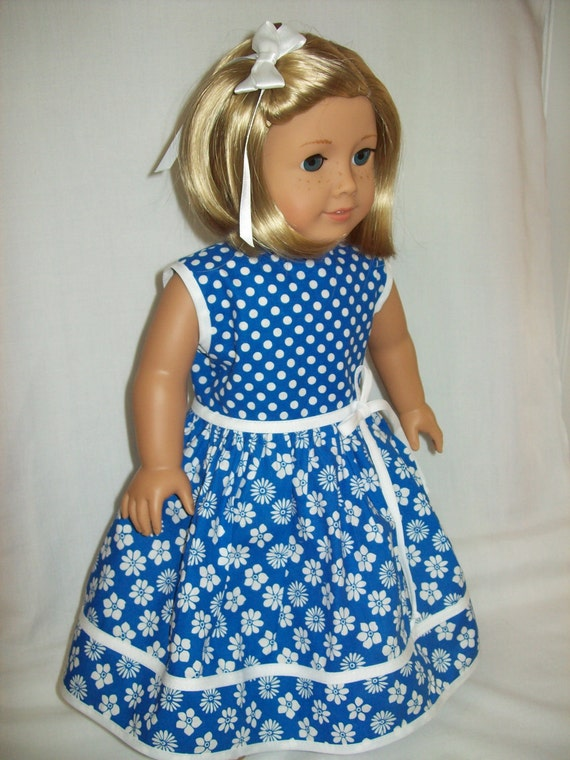 American Girl doll clothes  18 inch doll dress  Royal blue flowers and dots