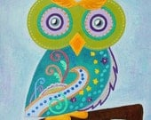 Owl Baby Wall Art / Child Wall Art Owl Nursery Painting (not a print) - Whimsical Owl