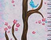 Personalized Bird Growth Chart Baby Nursery / Kids Room - Birds in Cherry Blossom Tree Painting (not a print)
