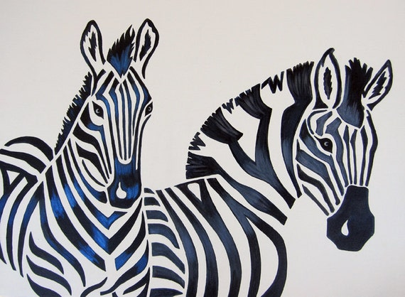 Zebra Nursery Art Safari Zoo Animal. Jungle Theme Kids / Baby Room Decor (painting not a print).