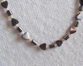 Malachite Heart and Sea Shell Bead Necklace -  20 inch