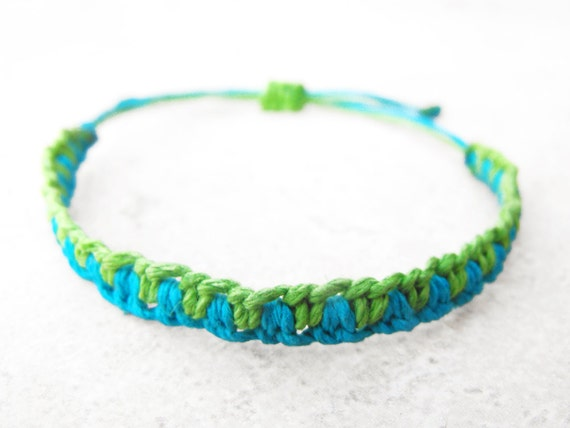 Lime Green and Turquoise Double Hitch Hemp Bracelet