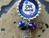 Bottlecap Nurse ID badge holder with beads - light pink, hot pink or blue/purple