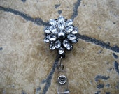 Beautiful Crystal Rhinestone Flower ID badge holder reel