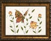 Butterfly Kisses - Original Pressed Fairy Flower Art - OOAK Fantasy Original - Petal Blossom Rose Design