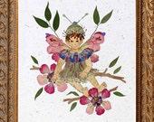 Sugar and Spice - Children's Flower Fairy Fantasy Artwork - Real Pressed Petal Blossoms - OOAK Keepsake