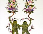 Twin Flames - Fantasy Frog Art - OOAK 8 x 10 Fine Art Giclee Print - Pressed Flowers