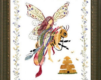 "Original Pressed Flower Fairy Art - Magical ""Queen Bee"" Design made with REAL Flower Petals"