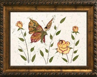 "Original Fairy Flower Art - Fantasy ""Butterfly Kisses"" Petal Blossom Design"