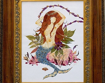Mystic Mermaid Design made with Real Pressed Flowers - Framed Fantasy Art and Petal Painting -