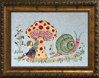 "Children's Fantasy Fairy Wall Decor - ""Under the Toadstool"" Original REAL Pressed Flower Art"