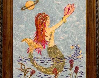 "Original Fantasy Mermaid Art ""Saturn Rising"" - Magical Framed Flower Art made with Real Pressed Flowers"