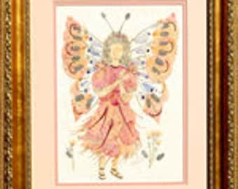 Pressed Flower Fairy Art - Butterfly Faery made with REAL Flower Blossoms