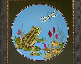 Fantasy Frog and Dragonfly Art - OOAK Original REAL Pressed Flower Artwork