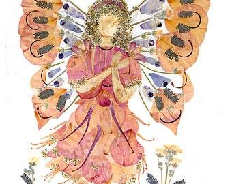 Butterfy Faery 8 x 10 Print - Original Flower Fairy Art - Fantasy Flower Blossom Design