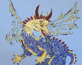 16 x 18  Fine Art Giclee Print - Dragon Transformation - Fantasy Fairy Art w/glitter
