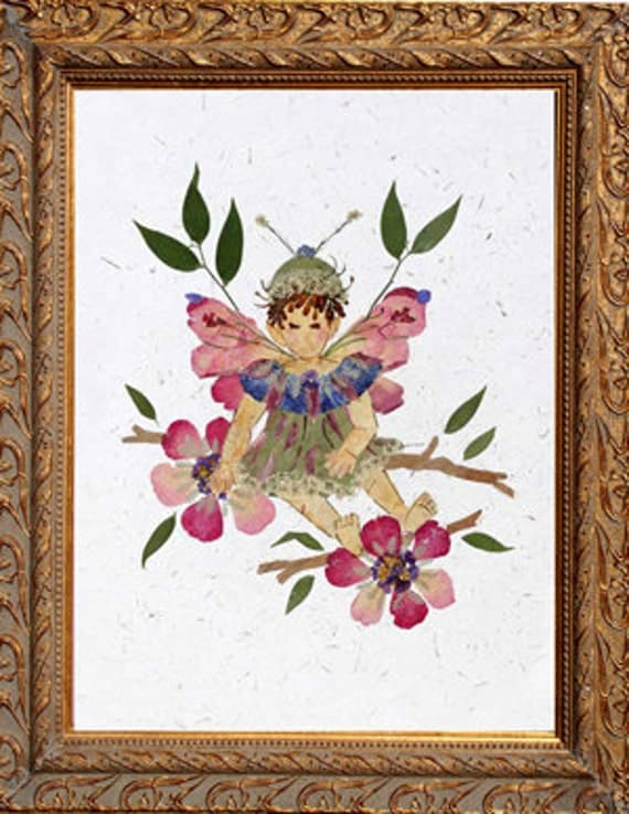"""Children's Flower Fairy Artwork - """"Sugar and Spice"""" Fantasy Design made with REAL Flowers"""