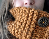 Chunky Knit Cowl - Handmade Slouchy Gaiter in Nutmeg Brown - Fall & Winter Fashion Accessory Cyber Monday Free Shipping
