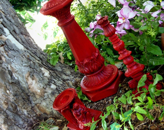 Set 3 Paris Apartment  Candle Holders French Country Candle Holders Angel Holder Christmas Red Candle Holders
